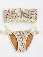 Ruffle Detail Lace Crochet Overlay Bandeau Bikini Set