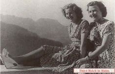 Eva's best friend Herta Schneider and Eva on the Berghof terrace.