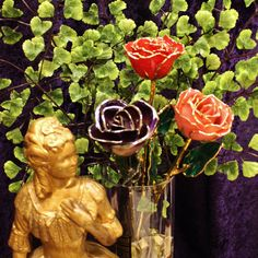 Thacker has Eternal Roses for Mother's Day! Real Roses dipped in 14kt gold. Choice of 5 colors.