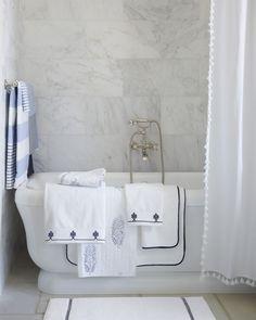 A Classic Bathroom Design Bath Textiles Via Serena and Lily Bathroom Tile Designs, Bathroom Interior Design, Decor Interior Design, Bathroom Ideas, Bathroom Inspiration, Budget Bathroom, Shower Ideas, Interior Decorating, Classic Bathroom
