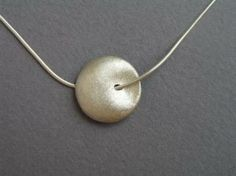 Round Silver Bead Necklace Pendant, Puffy domed Pendant, Circle, Nugget Necklace, Sterling Silver by DaliaShamirJewelry for $52.00 #zibbet #sterling #silver #necklace #pendant #elegant