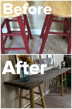 DIY Sofa Table. 2 stools painted with 2 coats of paint & a piece of old barn wood.