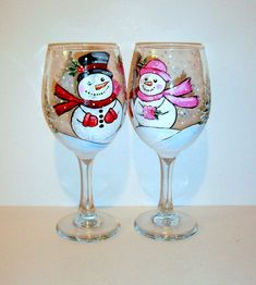 Snowman Mr. & Mrs. Hand Painted Wine Glasses Set of 2 - 20 oz. White Wine Glasses Christmas Trees Red Green Blue Christmas Wedding Names, More of my shop items here: https://www.etsy.com/shop/SharonsCustomArtwork?ref=seller-platform-mcnav This is a cute set of hand painted wine