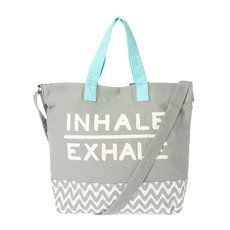 Gray and White Chevron Inhale Exhale Canvas Yoga Tote Bag