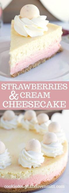 Strawberries and Cream Cheesecake - This cheesecake is packed full of flavor! There's a crumb cookie crust, pink strawberry cheesecake layer, vanilla cheesecake layer, strawberries and cream truffles baked inside the cheesecake and topped with whipped cream and more strawberries and cream truffles! This is the perfect Valentine's Day cheesecake! via @mmmirnanda