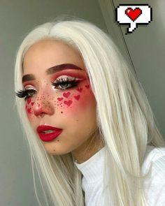 Are you looking for ideas for your Halloween make-up? Browse around this website for cute Halloween makeup looks. Makeup Eye Looks, Eye Makeup Art, Crazy Makeup, Cute Makeup, Pretty Makeup, Beauty Makeup, Beauty Bar, Red Eyeshadow Makeup, Crazy Eyeshadow