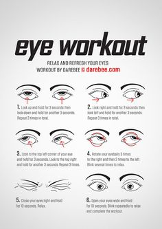 These eye exercises will help boost eyesight, range as well as reduce fatigue and tension Also helps to improve visual problems such as nearsightedness, eyestrain, farsightedness, tension headache etc - health-fitness Darebee Workout, Health Facts, Health Tips, Mental Health, Healthy Eyes, Healthy Habits, Face Yoga, Facial Exercises, Posture Exercises