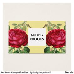 Red Roses Vintage Floral Modern Pattern Yellow