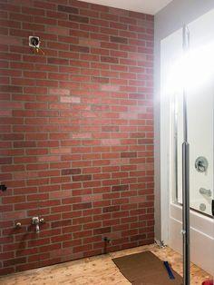 Ideas for wall brick diy floors Brick, Faux Walls, Brick Flooring, Stone Wall Design, Diy Flooring, Brick Wall, Bricks Diy, Faux Brick Walls, Fireplace Wall