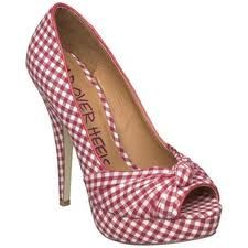 red and white gingham heels