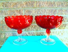 Red Compote Candy Dishes Bowls Indiana Glass Set of 2 by a2ndlife, $25.00