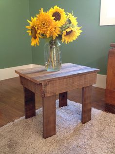 Rustic reclaimed redwood side table. Via Etsy and my talented daughter, Jillian.