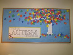 Support AUTISM Awareness bulletin board.  Image only, but would be a great display that students can easily help create for Autism Awareness Month.