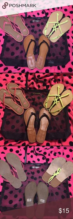 Bag and sandal bundle, 3 pair sandals, 1 VS bag Victoria's Secret beach bag, rubber mesh material, 1 pair size 7 American eagle pinkish flip flops, 1 pair size 7 bright yellow sandals, and 1 size 8 black Nine West flip flops, all in good condition and clean🚬🐱🏡💖accepting all reasonable offers💖will separate if asked💖 victorias secret, nine west, american eagle Shoes Sandals