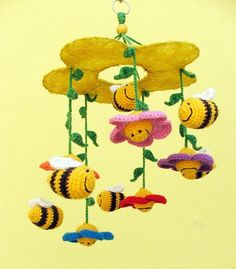 bees and flowers / crochet baby mobile / crib mobile by spikycake baby mobile Your place to buy and sell all things handmade Crochet Bee, Crochet For Kids, Crochet Crafts, Crochet Toys, Crochet Projects, Sewing Projects, Crochet Baby Mobiles, Crochet Mobile, Yarn Bombing