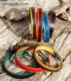 Pulseras en cuero plano de 1 cm de ancho, unisex en varios colores.