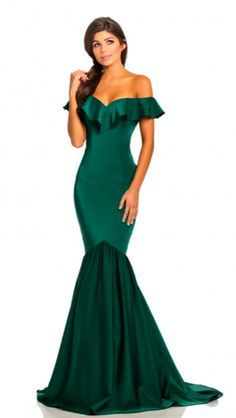 6833096444c Emerald Green Johnathan Kayne Off the Shoulder Ruffle fitted mermaid  Ypsilon Dresses Prom Pageant Evening Wear