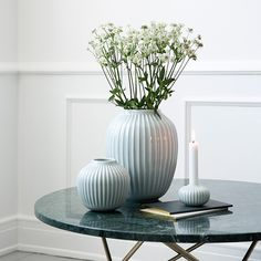 The mint vases in the Hammershøi range feature the same distinctive furrows, which tie the entire range together.