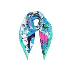 Christian Lacroix Square Scarves Les Filles en Fleur Pure Silk Square... (335 CAD) ❤ liked on Polyvore featuring accessories, scarves, square scarves, turquoise, colorful scarves, colorful shawl, patterned scarves and print scarves