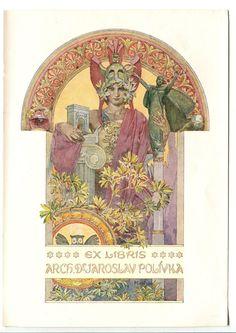 Alfons Mucha Original EX libris 1910 Art Nouveau   eBay