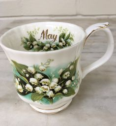 vintage Royal Albert Lily of the Valley May mug, Flower of the Month series, bone china, England, 1970 by MotherMuse on Etsy