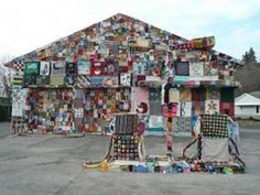 Yarn-Bombing-garage - this is the ugliest yarn bombing I have seen so far LOL but interesting nonetheless