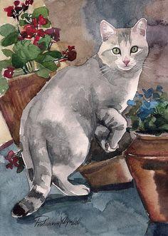 Items similar to Letra de acuarela gato gatito gatito gris en el jardín entre…