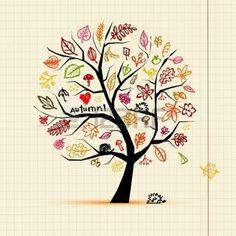 dibujos de hojas de otoño: Árbol de otoño, dibujo boceto de su diseño