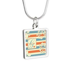 Hibiscus Stripes Custom Monogram Silver Square Nec