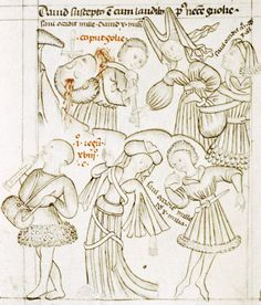 Dancing courtiers greet David, musician plays pipe and tabor simultaneously
