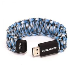 Introducing COBRABRAIDS Tech bracelet!  With up to 10 feet of 550 paracord and embedded in the bracelet is a 4GB USB drive.