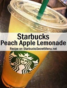 Lemonade to first line Apple juice to second line Add peach syrup (3 pumps tall, 5 grande, 7 venti)