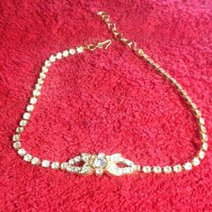 """Vintage Monet Rhinestone Choker Beautiful Vintage Rhinestone Monet choker necklace. Stamped on back of centerpiece. Adjusts from 13-15"""". Excellent condition. 🚫No trades🚫 Vintage Jewelry Necklaces"""