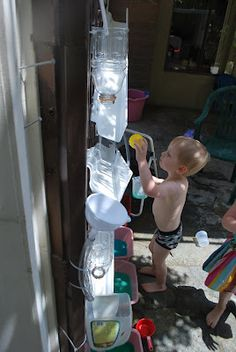 Outdoor Water Wall Ball Run, using plastic gutters, funnels & tubing! Outside Playground, Playground Ideas, Activities For Kids, Crafts For Kids, Water Activities, Outdoor Activities, Outdoor Learning Spaces, Water Walls, Water Play