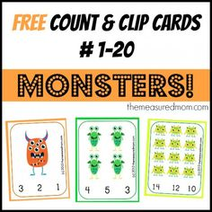 free monster count and clip cards 1 20 the measured mom Free Preschool Counting Printable: Monster Count & Clip Cards! Numbers Preschool, Fall Preschool, Preschool Themes, Preschool Printables, Kindergarten Math, Math Activities, Preschool Activities, Free Printables, Monster Activities