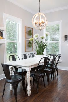 "As seen on HGTV's ""Fixer Upper,"" Thursdays 11/10c--> hg.tv/10wdg  Industrial chairs, classic table"