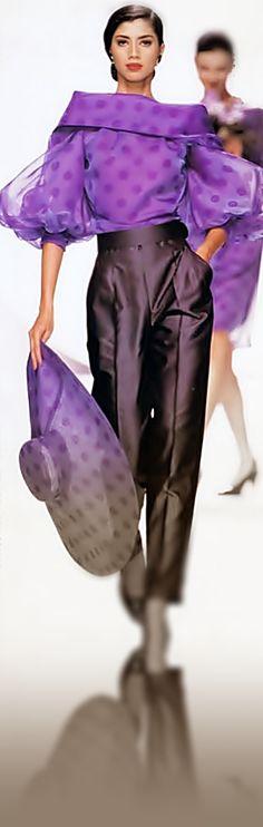 Christian Dior Show - 1990 Dior Fashion, Purple Fashion, Love Fashion, Runway Fashion, Vintage Fashion, Womens Fashion, Fashion Design, Haute Couture Style, Dior Couture