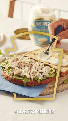 Tuna sandwich with Heinz [Seriously] Good Mayonnaise, a firm favourite of many households. We pop cucumber, watercress and fresh lemon juice to jazz it up. #GiveItSomeHeinz Heinz Recipe, Recipe Hub, Mayo Chicken, Chicken Sandwich, Spinach Stuffed Chicken, Grilled Chicken, Food Hub, Cucumber Sandwiches, Frozen Meals