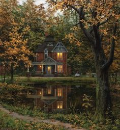 Future House, My House, House Art, Beautiful Homes, Beautiful Places, House Beautiful, Beautiful Pictures, Autumn Painting, Painting Canvas