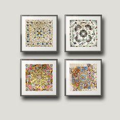 Gaudí, Barcelona, Fine art, European photo, Spain, tile, geometric, wall Decor, set of 4 8x8 photos