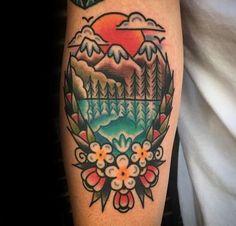 Dad Tattoos, Sleeve Tattoos For Women, Tattoos For Guys, Tatoos, Old School Tattoo Designs, Tattoo Designs For Women, Montain Tattoo, Traditional Style Tattoo, Traditional Tattoo Mountain