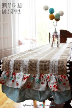 LOVE the POM POMS in vase, too! Burlap and Lace Table Runner - The Ribbon Retreat Blog
