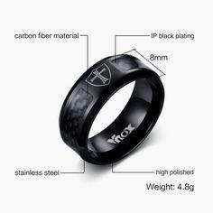 Vintage Men Man Signet Ring Stainless Steel Carbon Fiber Ankh Cross Eye Jewelry