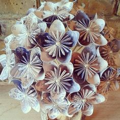 blue and white retro vintage wedding inspiration origami paper bouquet. Best most popular trending bouquets 2015 Paper Bouquet Diy, Boquet, Wedding Inspiration, Wedding Ideas, Tissue Paper Flowers, Next Wedding, Lesbian Wedding, Origami Paper, Flower Crafts