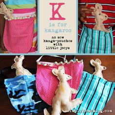 K is for Kangaroo: No Sew Pouches with Little Joeys