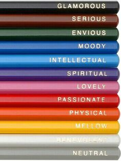 PENCIL EMOTIONS in rainbow colors. Here a pencil is more than just a pencil, it has feelings ! Image Crayon, Pantone, Color Psychology, Polychromos, Copics, Color Theory, Event Styling, Rainbow Colors, All The Colors