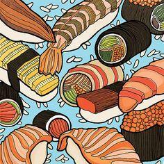 sushi illustration ink - Google Search