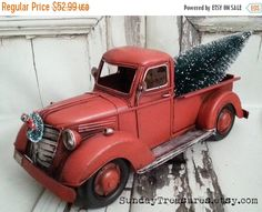 Vintage Red Truck With Christmas Tree Pinterest