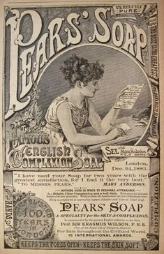 Original vintage magazine print ad for Pears Soap featuring stage actress Mary Anderson. Vintage Labels, Vintage Ephemera, Vintage Paper, Vintage Signs, Vintage Postcards, Vintage Ads, Vintage Prints, Vintage Clocks, Funny Vintage