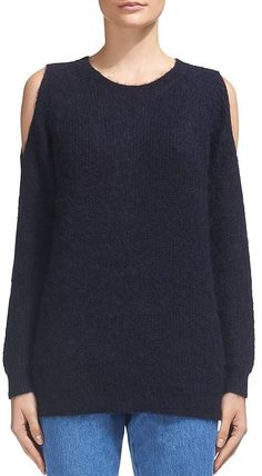 e9ea3ad7ad4b 90s Y2K Express Fuzzy Cropped Navy Sweater